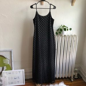 Black crotchet maxi dress